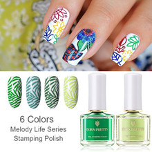BORN PRETTY Green Color Stamping Polish 6ml Melody Life Stamping Serie Nail Art Plate Printing Polishs Nail Art Lacquer Varnish born pretty 6 bottles shimmer nail stamping polish set 15ml nail art varnish nail art polish 23200