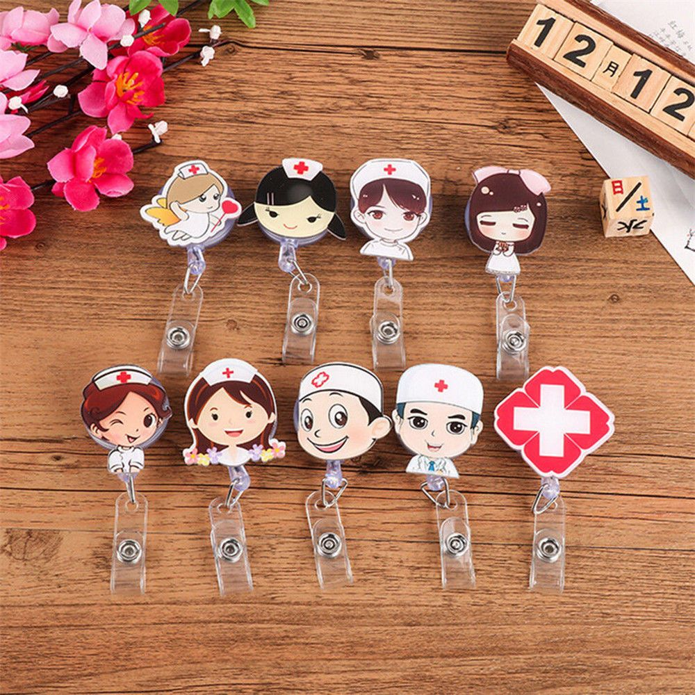 Cartoon Mini Retractable Badge Reel Nurse Lanyards ID Name Card Badge Holder Clip Student Nurse Badge Holder Office Supplies