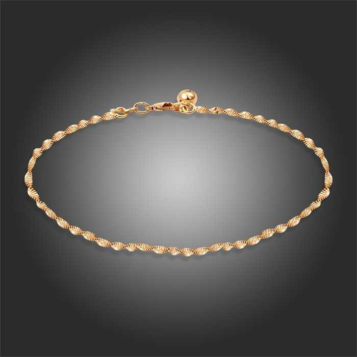New  Yellow Gold Color 11'' Singapore Double Wave Chain Bell Anklet Sexy Summer beach Foot Jewelry for Women Girls Hot Gifts