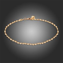 New Yellow Gold Color 11'' Singapore Double Wave Chain Bell Anklet Sexy Summer beach Foot Jewelry for Women Girls Hot Gifts(China)