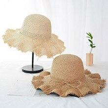 Sun hats for women Summer cap Straw hat visor Wide Brimmed Floppy Foldable Solid Beach Hat Y703