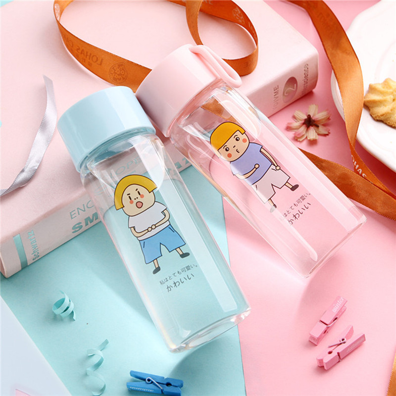 Round Street glass heat-resistant glass water bottle creative gift office outdoor