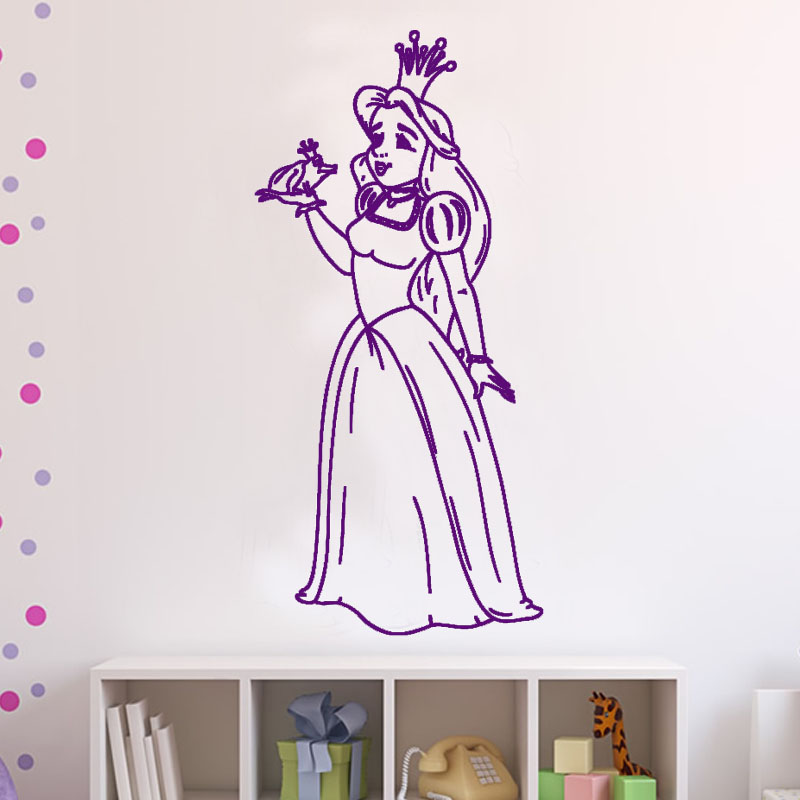 DCTOP Hot Sale High Quality Fairy Tales Figure Nursery Wall Mural  Decorative Frog And The Princess Wall Sticker For Girls Room Part 52