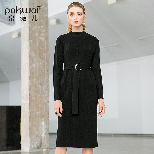 POKWAI 2018 Autumn New Fashion Lace Long Sleeve Stand Collar European And  American Dress Waist Slim Skirt