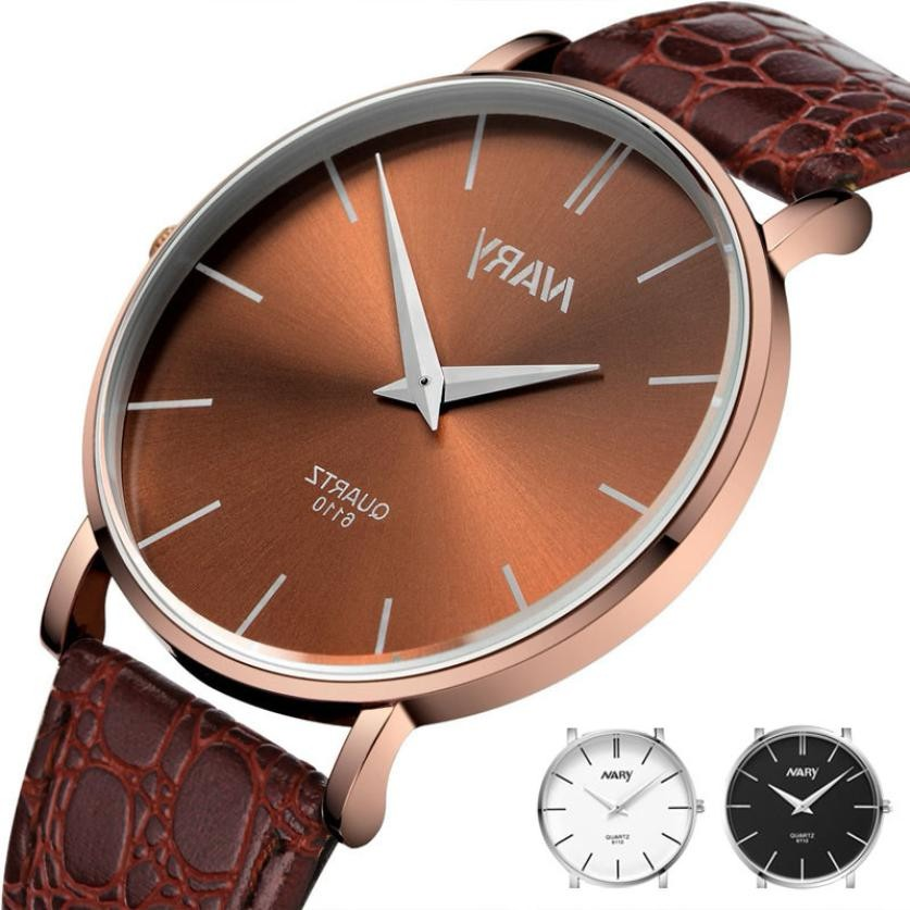 2018 Hot Product Men Luxury Slim Big Dial Business Design Sport Leather Band Quartz Waterproof Wrist Watch xfcs saat kol saati