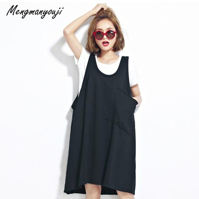 Plus size long black tank dress