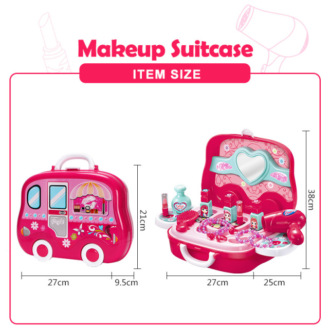 Make Up Game Toy Set for Baby Girl Plastic Miniature Hair Dryer Comb Necklace Bracelet Ring Pretend Play Children's Suitcase D50