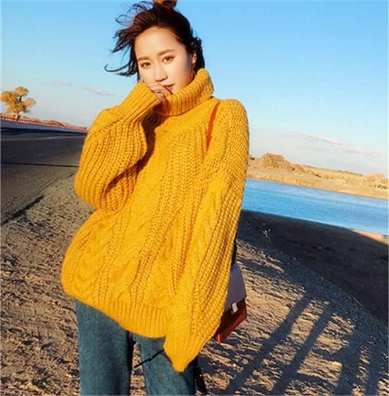 2019 Versi Korea Baru Tinggi Kerah Sweater Wanita Tebal Wol Medium-Long 100-Tie twist Rajutan Bawah Sweater