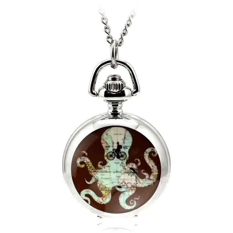 80cm Chain Antique Retro Steampunk Bronze Hollow Quartz Pocket Watch Necklace Pendant Sweater Chain Gifts Octopus Map Pattern