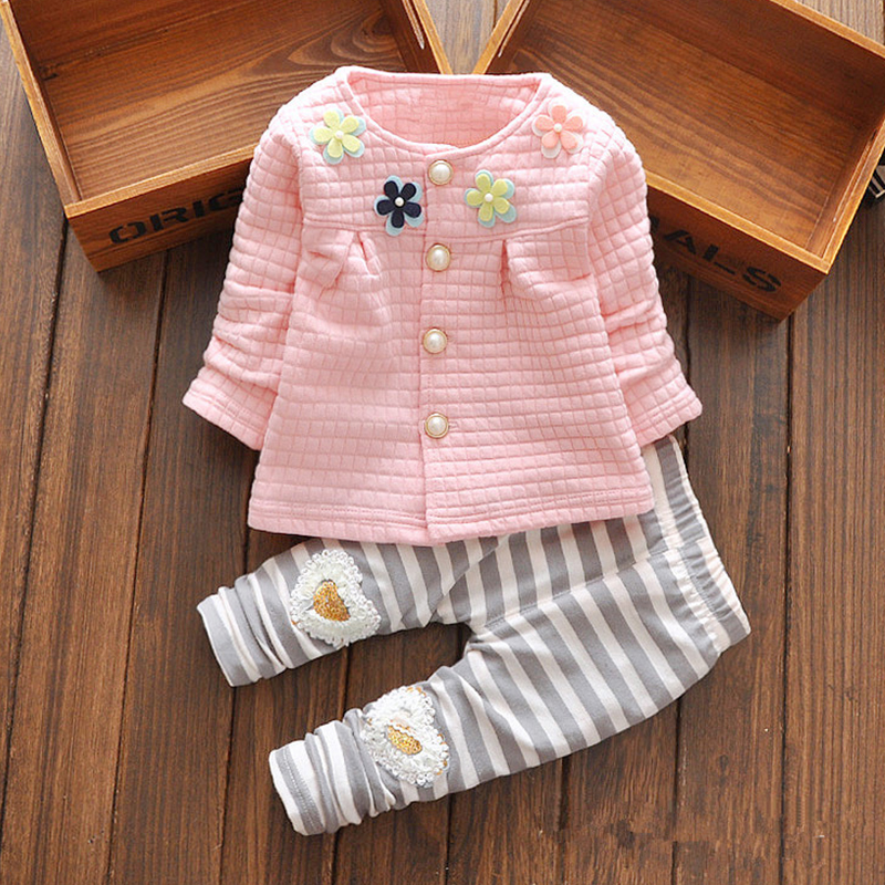 2017 New Baby Cothes Girls Flower Suit Cardigan + Pants 2pcs / set infant jacket Kids clothes Striped Pants free shipping