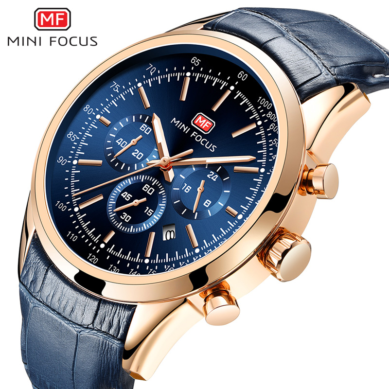 MINI FOCUS Fashion Mens Wristwatch Quartz Watch Men Waterproof Luxury Brand Watches Leather Strap 24hours Relogio Masculino Blue