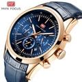 MINI FOCUS Mode Heren Horloge Quartz Horloge Mannen Waterdichte Luxe Merk Horloges Lederen Band 24 uur Relogio Masculino Blauw