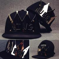 2017 New Hip Hop Metal Icon Letter King Queen Baseball Cap Femmes Snapback Hats For Women Men Couple Bones Gorras Dad Hat Cap