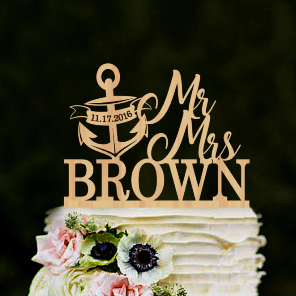 Mr and Mrs cake topper with anchor, nautical anchor cake ...