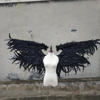 Adult feather wing black cartoon feather angel wings for Fashion show Displays wedding shooting props Cosplay game costume