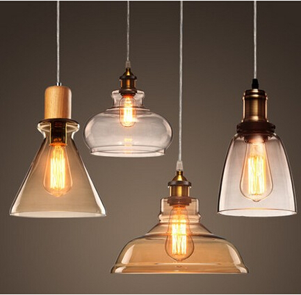 Edison Loft Style Wood Glass Industrail Vintage Pendant Light Fixtures For Dining Hanging Lamp Home Lighting Lamparas Colgantes loft style iron retro edison pendant light fixtures vintage industrial lighting for dining room hanging lamp lamparas colgantes