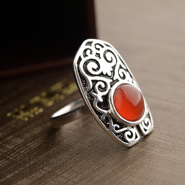 Vintage India Etched Design Antique Silver Plated Natural Stone Rings Garnet Gem Punk Party Men Women & Vintage India Etched Design Antique Silver Plated Natural Stone ...