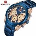Top Marke NAVIFORCE Luxus Blau Gold Uhren Männer Mode Sport Quarz Uhren Voller Stahl Wasserdichte Uhr Relogio Masculino 9113-in Quarz-Uhren aus Uhren bei