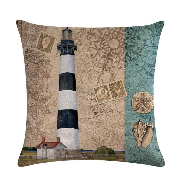 Lighthouse Print Linen Cushion Cover 6