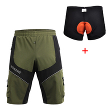 Wosawe MTB Road Men's Cycling Loose Shorts Mountain Bike Bicycle Leisure with 3D Padded Underpants Sports Cycle Wear for Summer