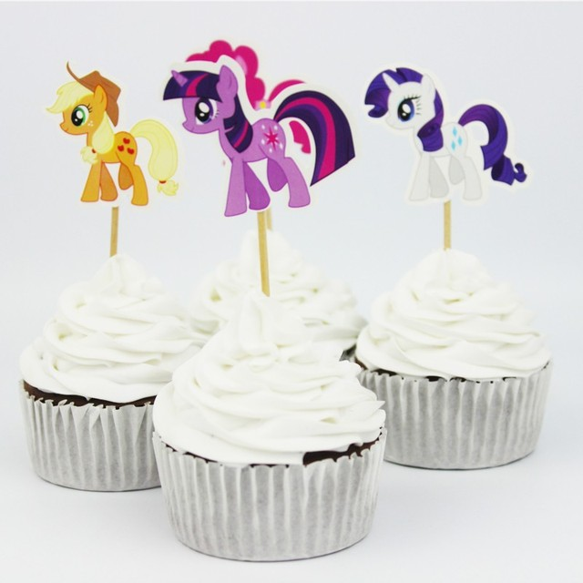 24pcs Lot 6 Designs My Little Pony Cupcake Topper Picks Cartoon Theme Birthday Party Decorations