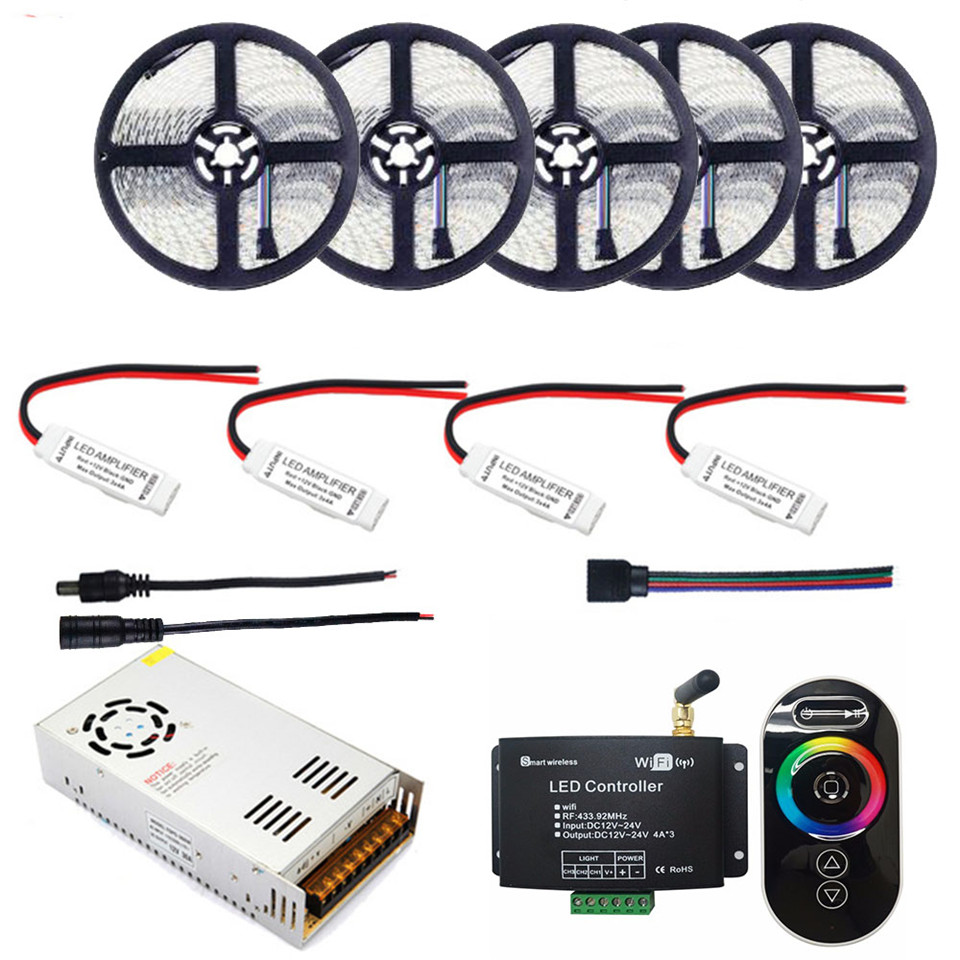 25 M 5050 RGB LED bande 15 M étanche IP65 LED ruban ruban 10 M + RF télécommande WIFI contrôleur + Mini RGB Amplifer + alimentation 12 V