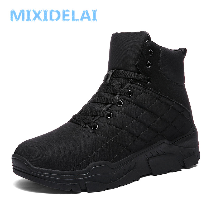MIXIDELAI Winter Warm Plush Fur Snow Boots Men Ankle Boot Quality Casual Motorcycle Boot Waterproof Men's Boots Big Size 39-45