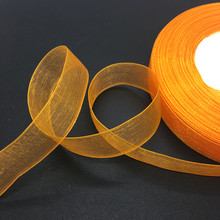"50 Yards/Roll 5/8"" 15mm Orange Organza Ribbon Bow Wedding Decoration Lace Crafts(China)"