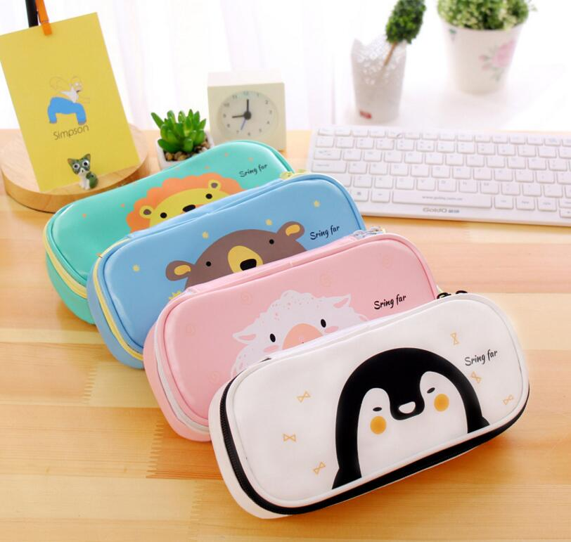Cute Cartoon Animal Pencil Case Pencil Box Student Pen Bag Purse School Supply Cosmetic Pouch Makeup Bag mint student navy canvas pen pencil case coin purse pouch bag jun01