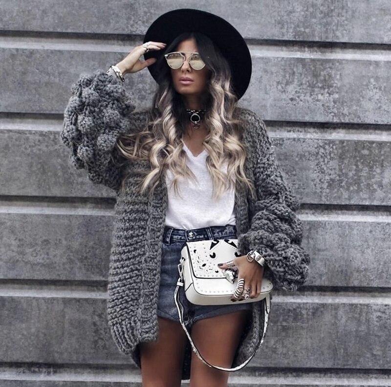 Tricoté Cardigan Femmes 2018 Mode D'hiver Manteau À Manches Longues Balle Chandail Femme Hiver Tops Grossier Cardigans Manteaux Femme