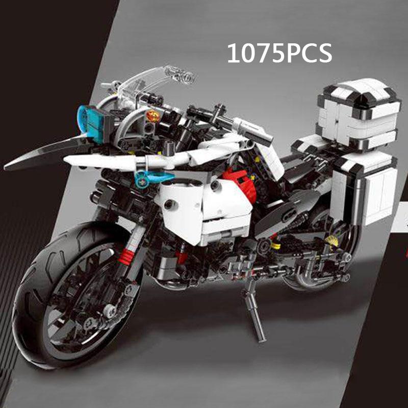 купить Hot Dream-car Technics Police Patrol Motorcycle Building Block Motor Model Moc Bricks Educational Toys Collection for Adult Kids по цене 4731.95 рублей