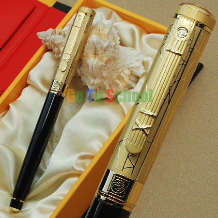 PICASSO 902 BLACK & GOLDEN FOUNTAIN PEN FINE NIB WITH ORIGINAL BOX picasso 966 red fountain pen hooded fine nib shimmering sands with original box