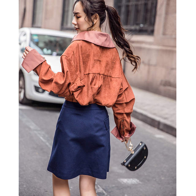 0fd0bdb3fd9d placeholder Cheerart Autumn Oversized Shirt Women Big Collar Long Lantern  Sleeve Satin Blouse Loose Korean Button Down