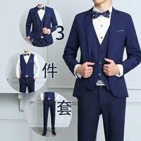 Classic Complete Mens Suits Beach Wedding Tuxedo Skinny Prom Suits Boys 3 Pieces Jacket Vest Pants