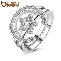 BAMOER New Collection Platinum Plated Star Moon Statement Finger Ring Set Clear CZ Vintage Ring For