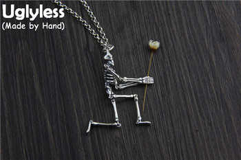 Uglyless Real S925 Sterling Thai Silver Movable Skeleton Pendants Necklaces without Chains Cool Unisex Skull Fine Jewelry Bijoux