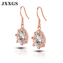 JXXGS Women Earrings 925 Sterling Silver Drop Rose Gold With Stones 2019 Fashion Female Jewellery Romatic Gift