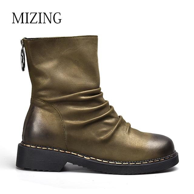 Vierkante Voor Vrouwen Lederen Enkellaars Mizing Puntschoen Schoenen S6YyOEUE