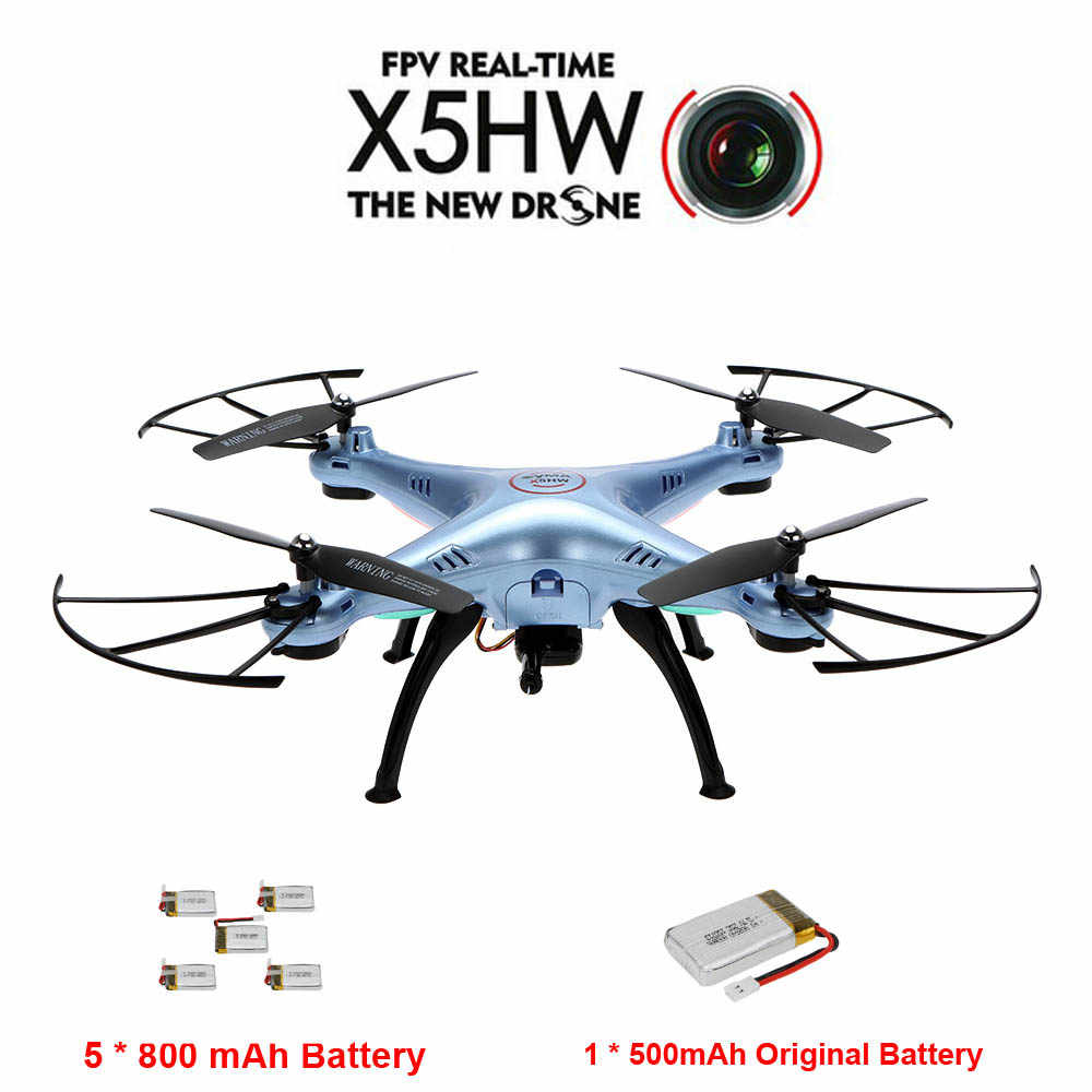 X5HW Wifi Real-time FPV 2.0MP HD Camera 360 Degree Eversion RC Quadcopter with 5 Pcs 800mAh 1 Pcs 500 mAh Battery as Gift