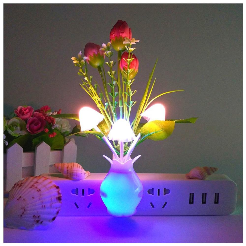 Практичный из 2 предметов ночник, тюльпан Подключите Цвет изменение <font><b>LED</b></font> гриб ночник настенные светильники маленький Декор лампы