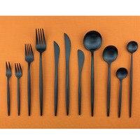 Matte Black Silverware Set Cutlery 18/10 Stainless Steel Tableware set Creative Dinner Set Fork Butter Knife Scoop Service For 1