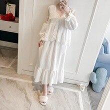 Женское платье, кружевной халат, Женский винтажный костюм принцессы, осенняя одежда для сна