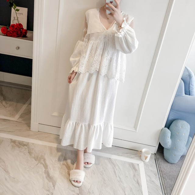 Girl Robe Lace Robe Set Women Princess Vintage Homewear set Sleepwear Robes Autumn