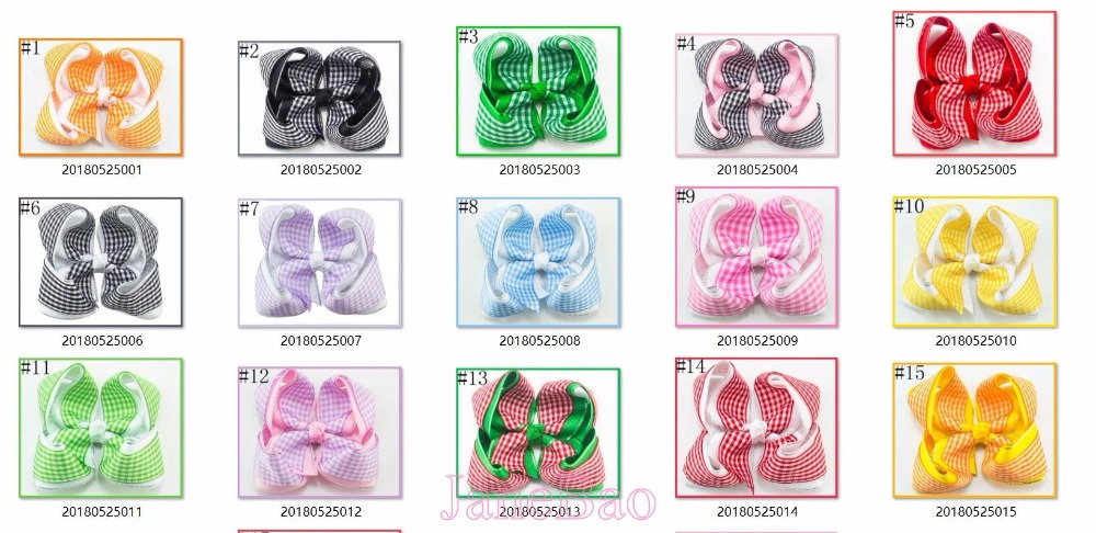 free shipping 50pcs 3 5 4 gingham hair bows double layered hair bows checked hair clips