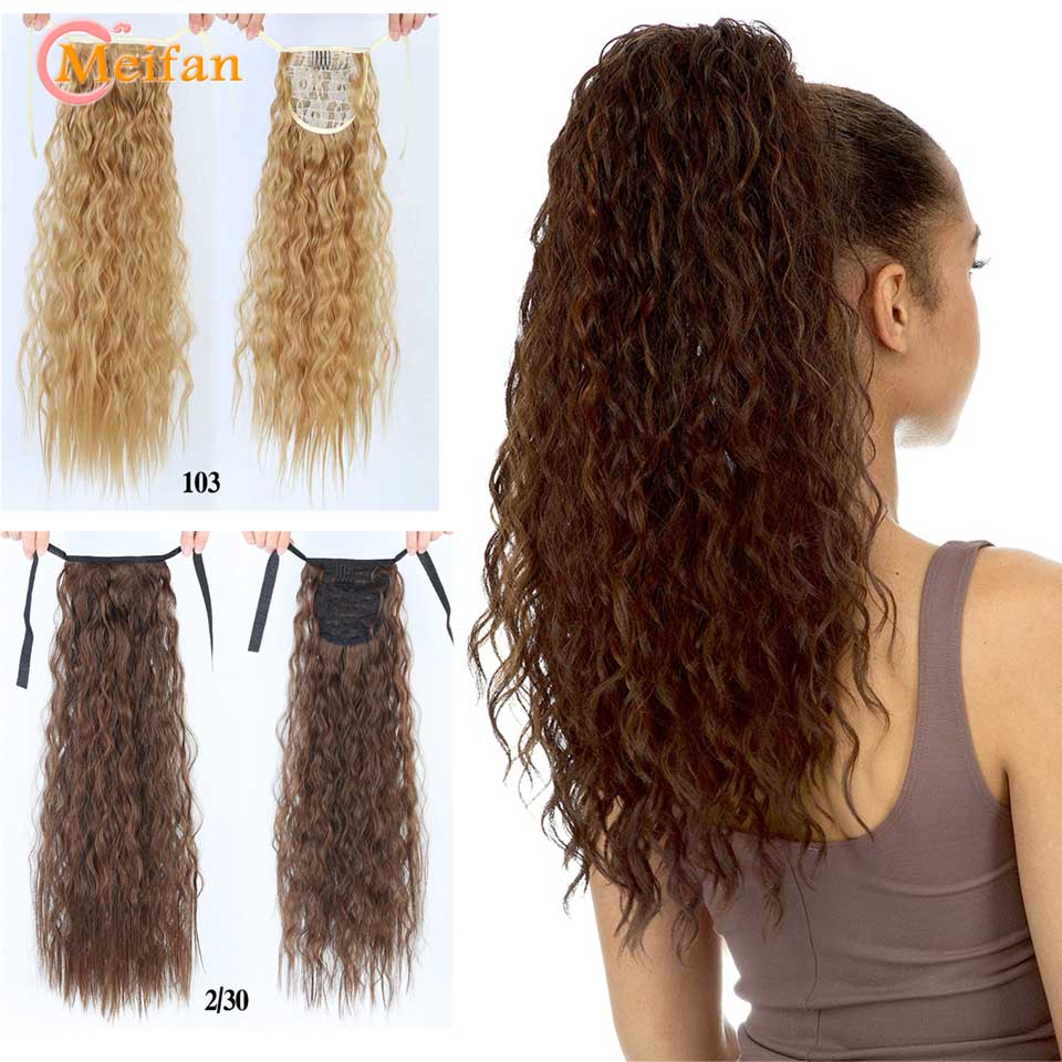MEIFAN Synthetic Long Wavy Ponytail Hair Pieces For Women Ribbon Drawstring Winding On Ponytail Hair Extension Fake Hairpieces