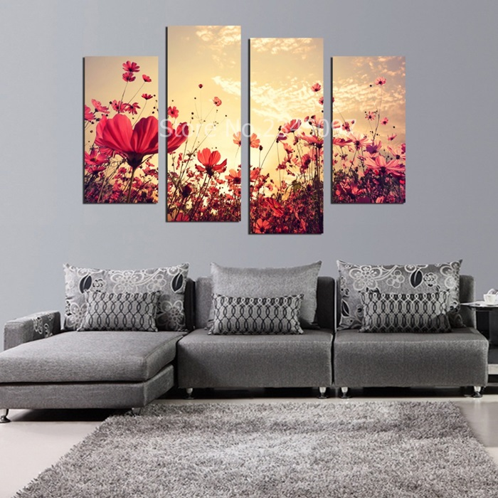 New Modular Pictures 4 Pcs Forest Seasons red Flower Trees Canvas Print Painting For Living Room Wall Art Pictures Home...  wall art 4 seasons   Four Seasons Tree Craft With Template – paper crafts ideas New Modular Pictures font b 4 b font Pcs Forest font b Seasons b font red