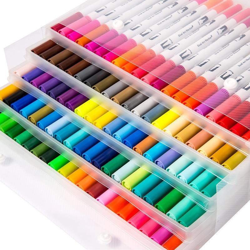 24/36/48/60/80/100Pcs Brush Pen Marker Art for Kids Drawing Painting Graffiti Water Color Soft Plumones Manga Anime Pencils Set