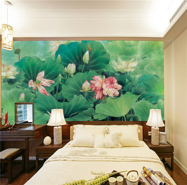 Chinese Painting Photo Wallpaper Silk Wall Mural Lotus Pond Art Wallpaper  Natural Scenery Hotel Bedroom Kid
