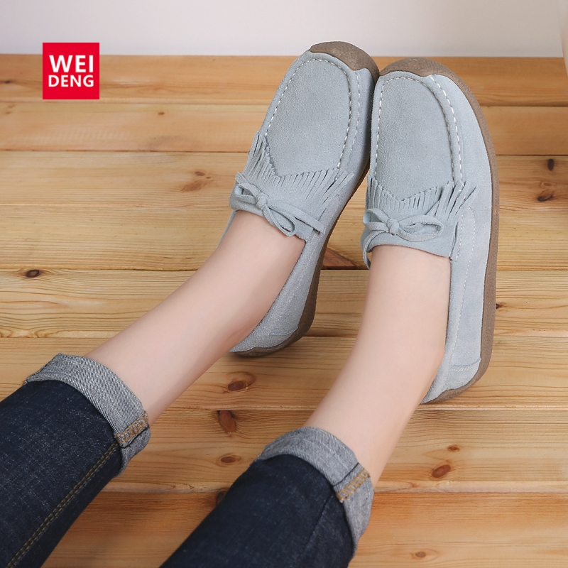 WeiDeng Genuine   Leather   Women Shoes Fur Insole   Suede   Flat Loafer Slip On Casual Overseas Warehouse Clearance Sales Promotion