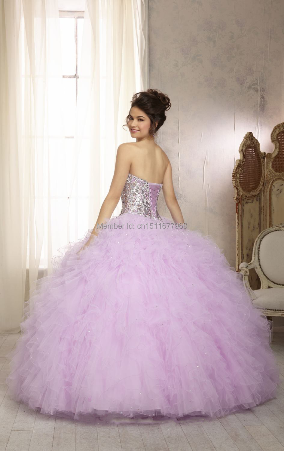 Aliexpress.com : Buy Light Pink Purple Blue Sequin Corset Ball ...